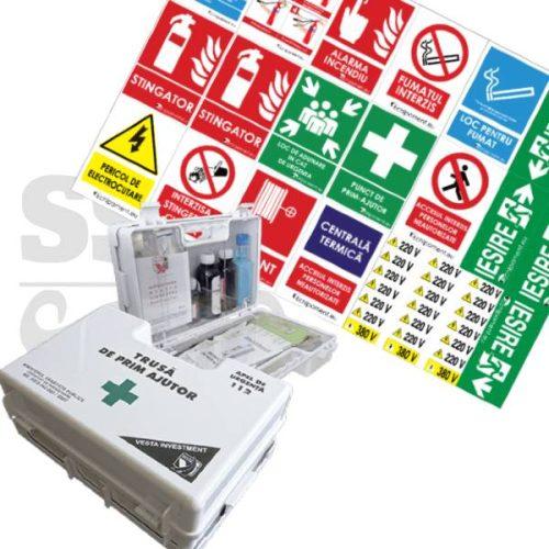 Trusa de prim ajutor detasabila + set 40 autocolante SSM obligatorii