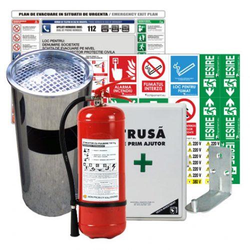 pachet full: trusa sanitar fixa, stingator P6, scrumiera, plan de evacuare, semnalistica