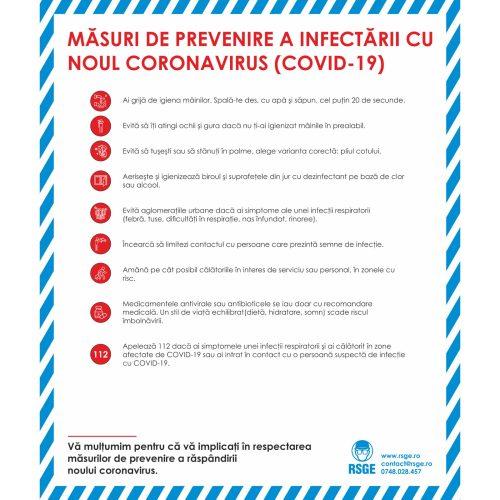 Masuri de prevenire a infectarii cu noul Coronavirus CoViD-19