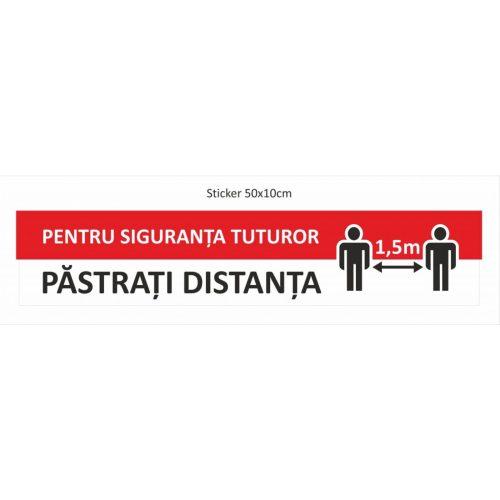 Sticker de podea 10 x 50 cm Pastrati distanta 1,5 m
