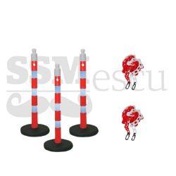 Set delimitare: 3 stâlpi cu greutate și 2 lanțui plastic 3m