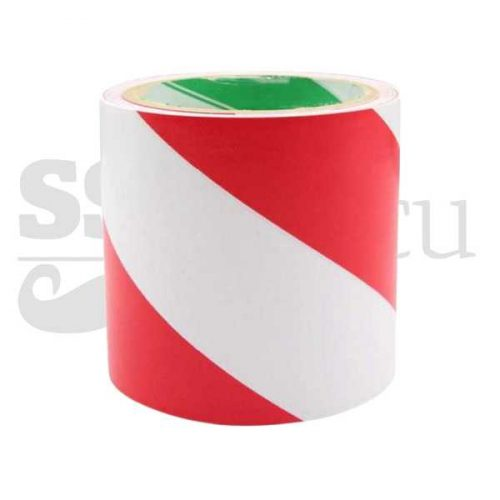 Banda adeziva pentru marcare - 10cm x 25m - alb/rosu