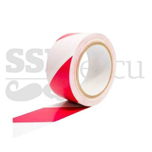Banda adeziva pentru marcare - 5cm x 25m - alb/rosu