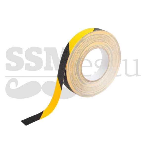 Banda galben-negru autoadeziva antialunecare ━ 2.5cm x 25m