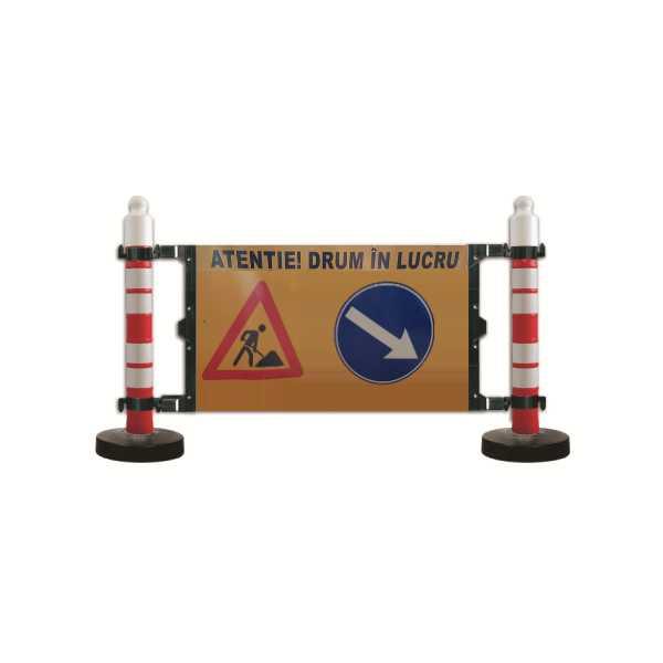 Bariera semnalizare - 2 stalpi cu greutate 12kg - panou semnalizare
