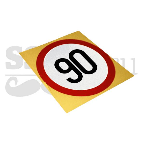 Autocolant reflectorizant Limitare de viteza 90 km/h, D=130mm (copiază)